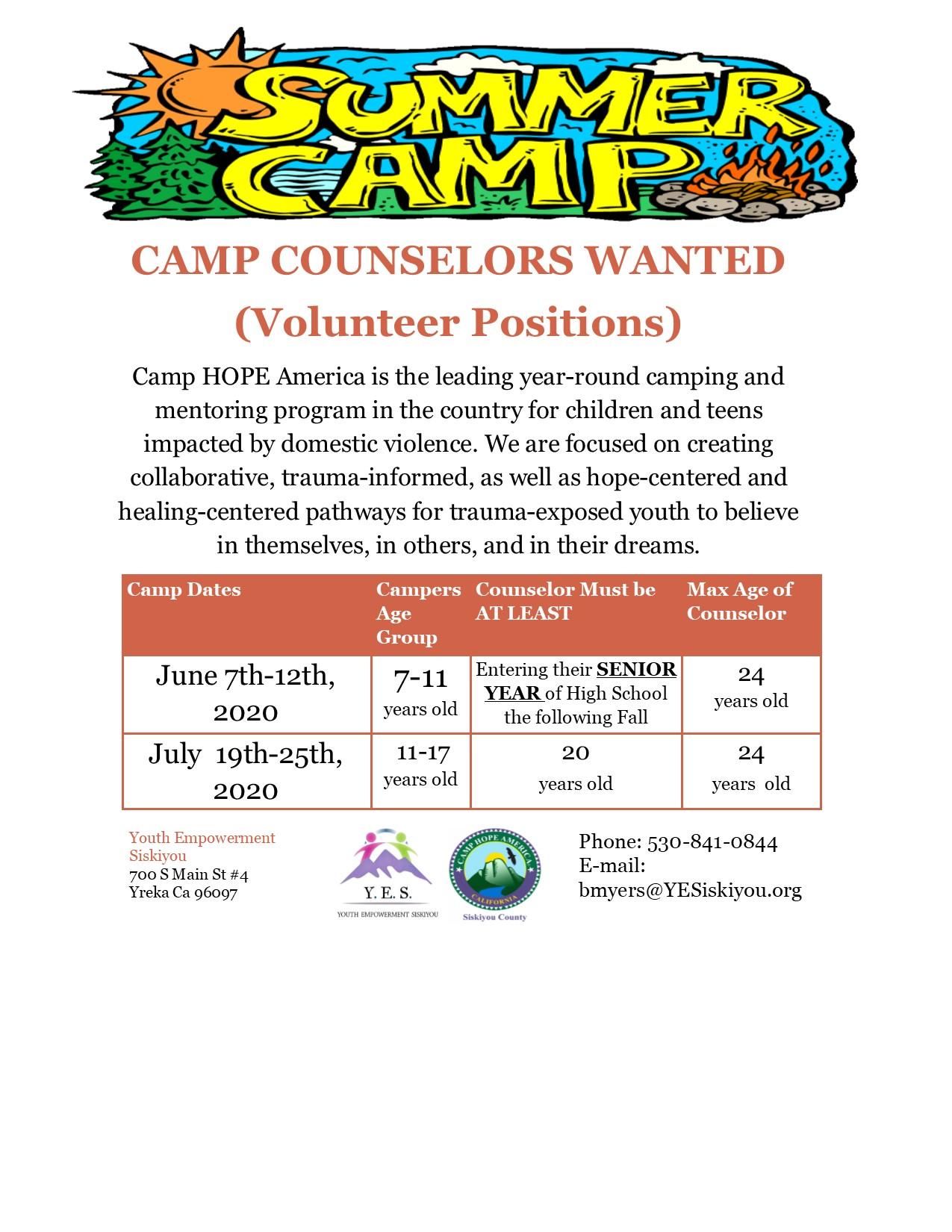Counselor Recruitment Flyer
